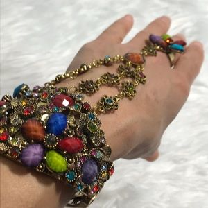 VINTAGE Gold Floral Rhinestone Slave Bracelet Cuff